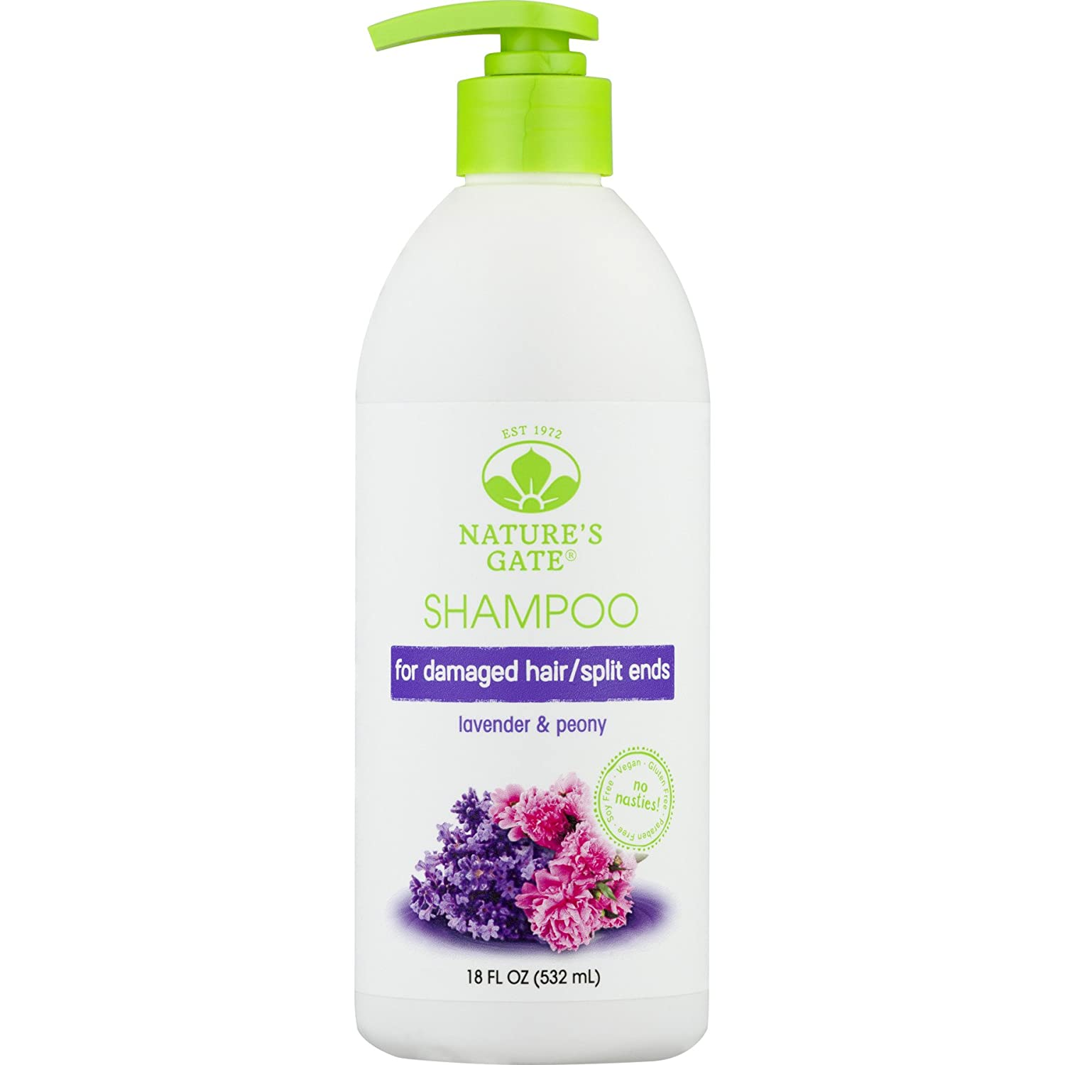 Nature's Gate Natural Lavender and Peony Replenishing Daily Shampoo for Calming Hair and Scalp, Split End Treatment, Vegan, Non GMO, Gluten Free, Soy Free, Paraben Free, Cruelty Free, 18 Fluid Ounces