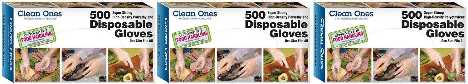 Clean Ones Disposable HDPE Poly xCZOW Gloves, One Size Fits All, 500 Count (3 Pack)