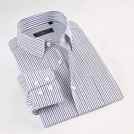 WENJUN Camisa De Manga Larga para Hombres Rayas Ocasionales De Negocios Camisa De Fibra De Bambú Overol Daily 4 Colores para Elegir: Amazon.es: Hogar
