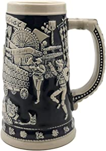 Beer Stein Blue Munich Oktoberfest Beer Wagon Beer Mug by E.H.G | .75 Liter