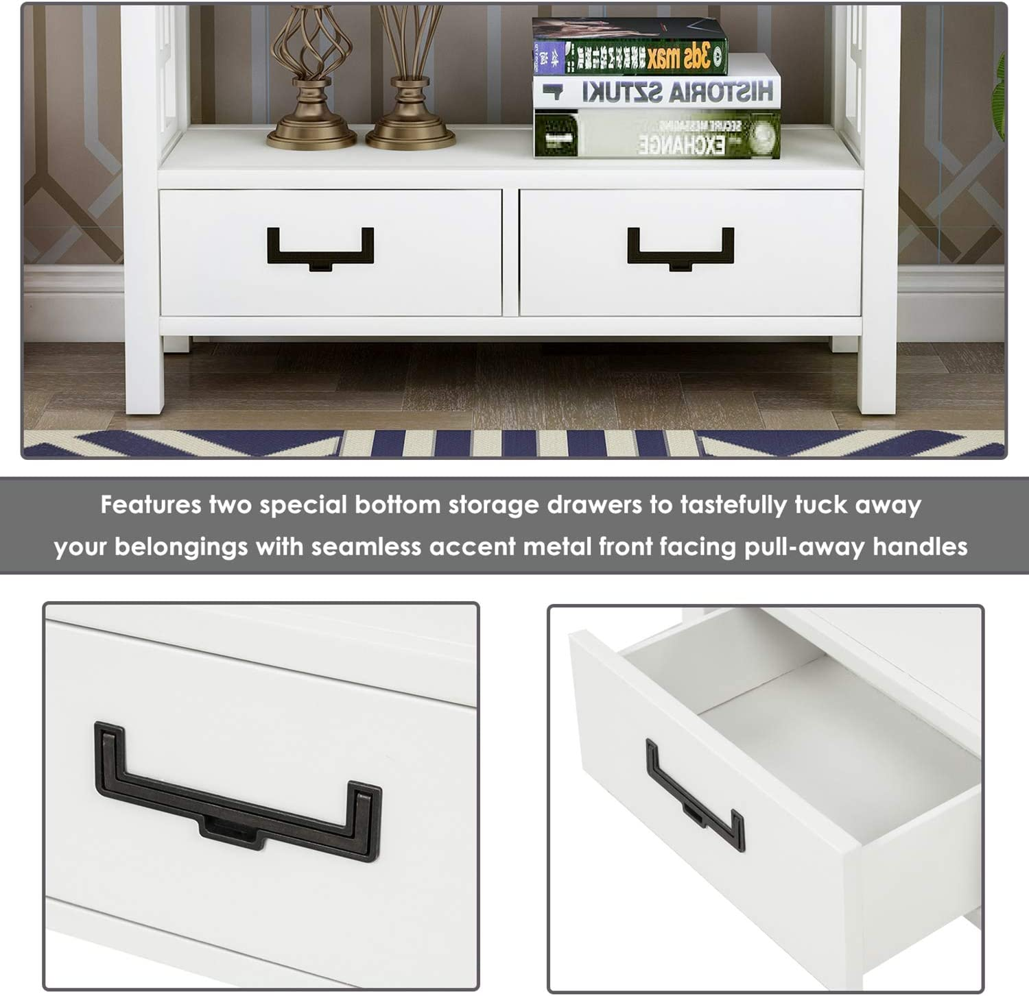 P PURLOVE Sofa Table Console Table for Entryway Wood Table with 2 Storage Drawers for Living Room Hallway Bedroom Antique Gray