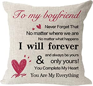 huangdd to My Boyfriend You are My Everything Pillow Covers ,Cotton Linen Square Waist Pillow Case for Sofa Couch Anniversary Birthday Gift for Boyfriend,18