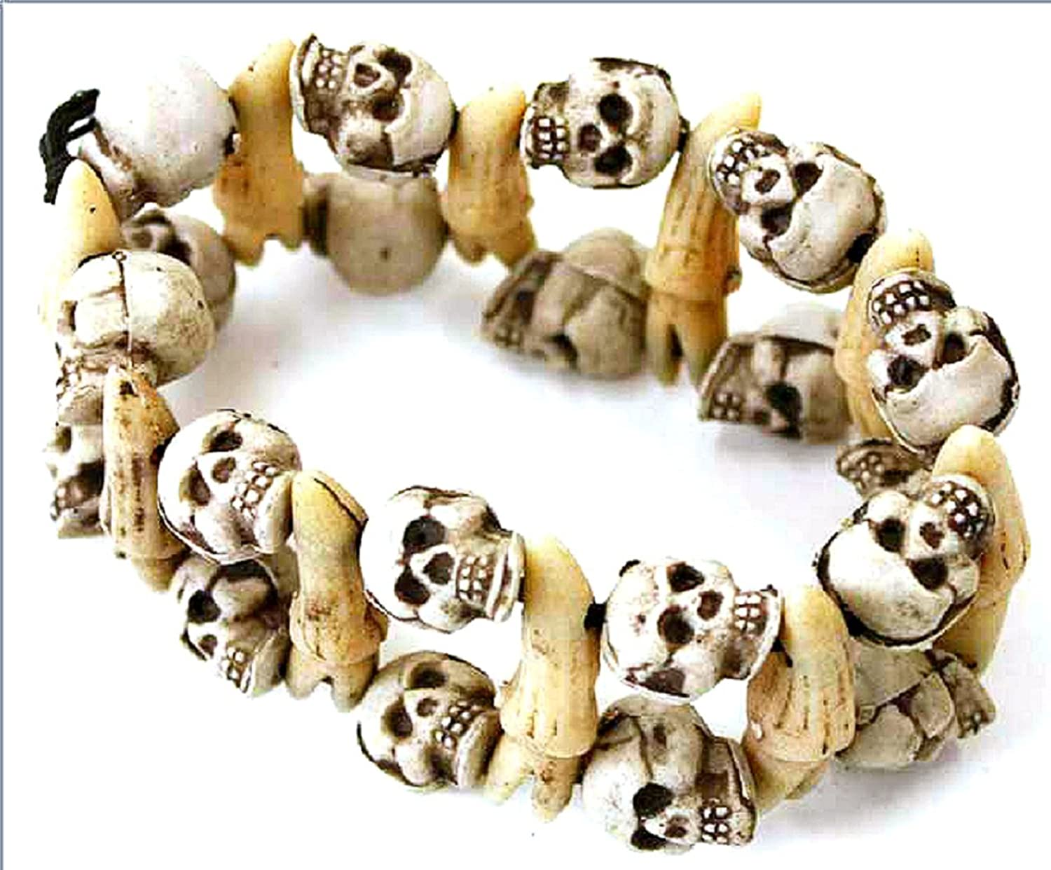 Double Skull & Teeth Voodoo-Style Pirate Bracelet