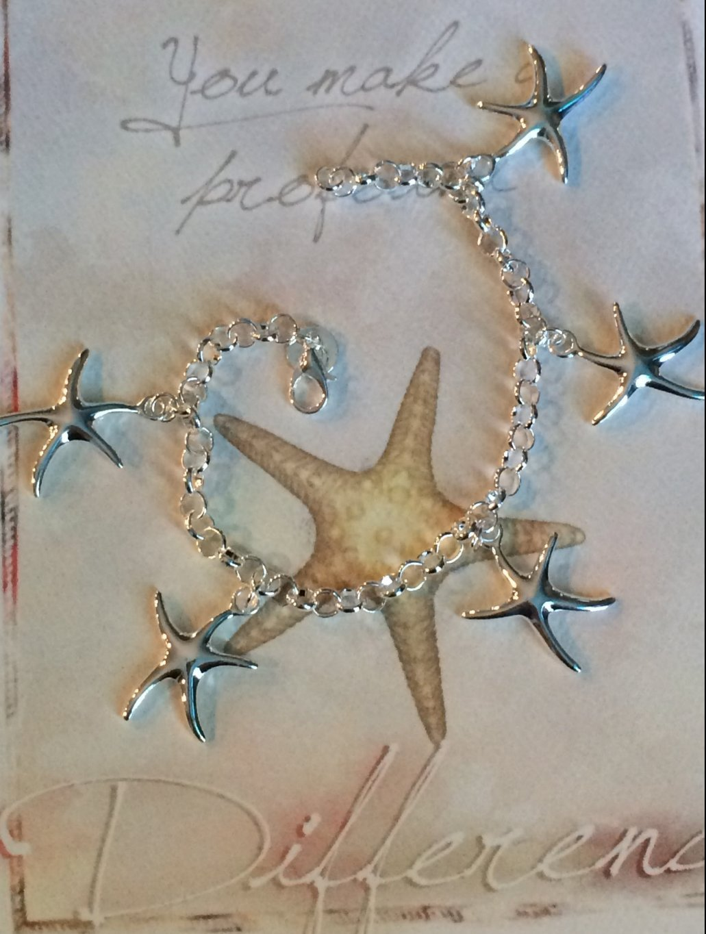Starfish poem card - Smiling Wisdom Starfish Charm Bracelet Gift Set You Make A Profound Difference Thank You