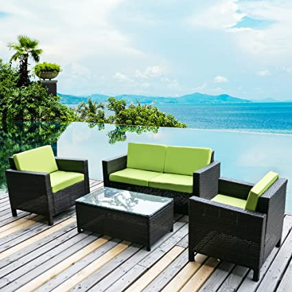 4 PC Outdoor Rattan Patio Furniture Set PE Rattan Wicker Sofa Set Garden  Lawn - Amazon.com : Merax. 4 PC Outdoor Rattan Patio Furniture Set PE