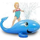 Kleeger Kids Water Sprinkler Toy: 2 in 1 Giant Inflatable Whale Splash Fun For Outdoor Games | Pool Float For Boys & Girls | Great for Garden / Backyard Activities & Parties