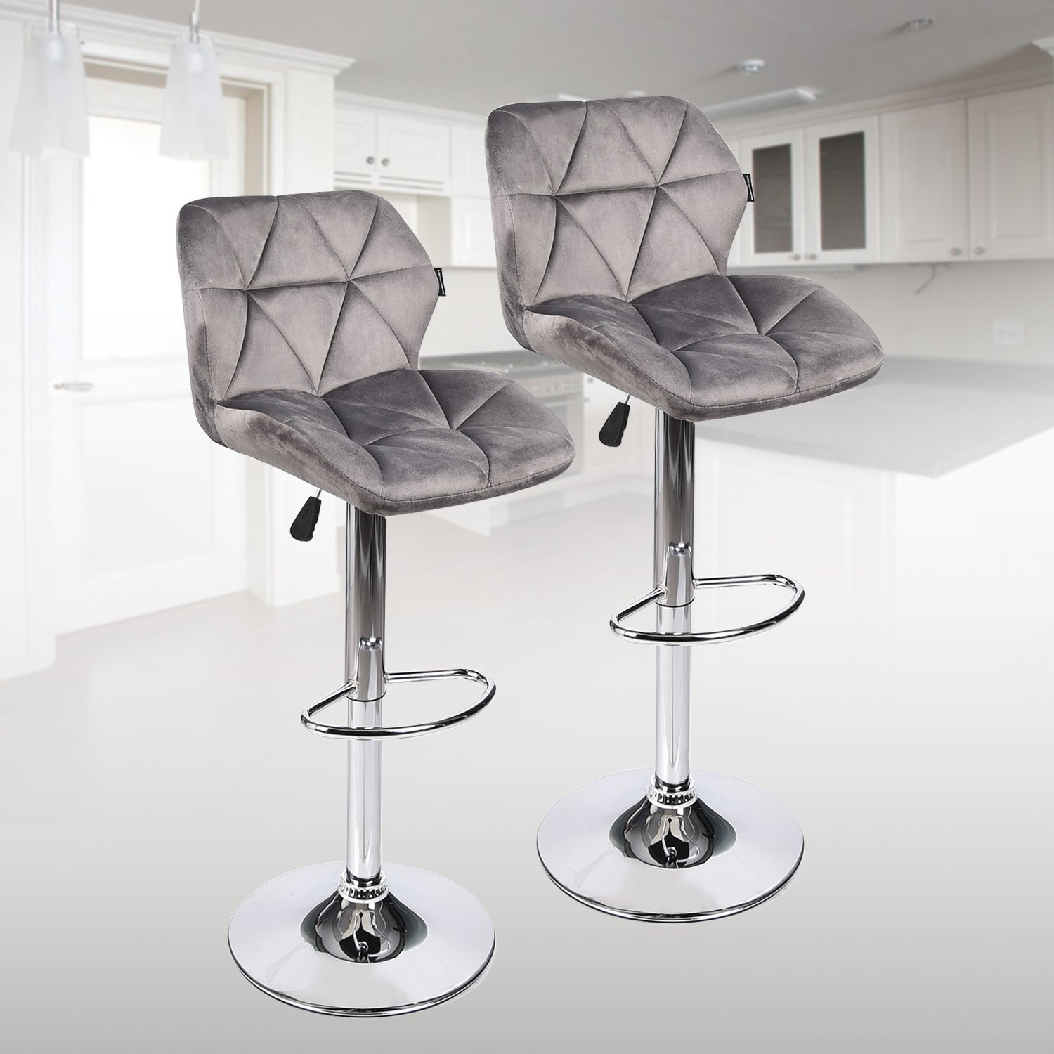 PULUOMIS Bar Stools Modern Hydraulic Adjustable Swivel Barstools, Flannel Padded with Back, Dinning Chair with Chrome Base, Set of 2, Grey Flannel