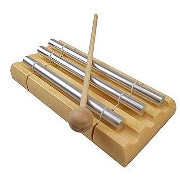 SGerste - Timbre de 3 tonos para niños, juguete musical, instrumento de percusión con mazo para oración, yoga, energía del este, recordatorio de clase: ...