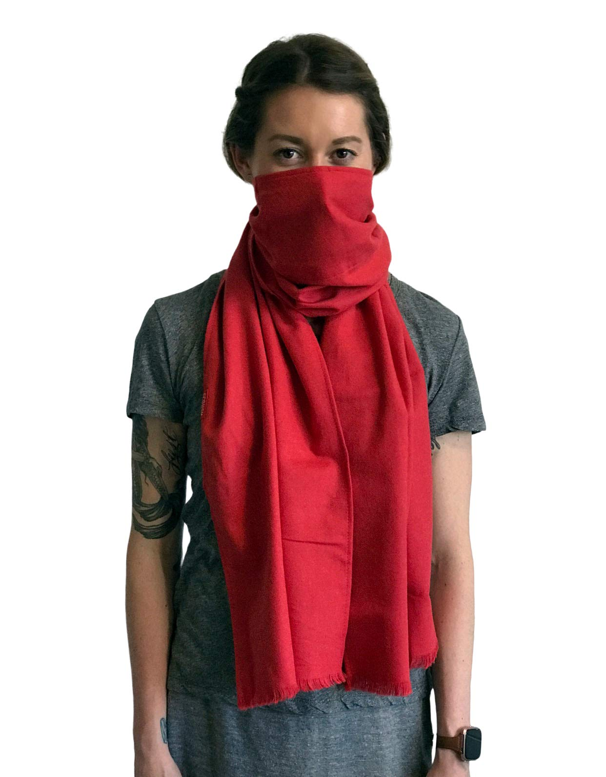 Scough Pollution Protection Filter Scarf Dust Toxins Ash Allergens Germs- Jasper (Red) by Scough