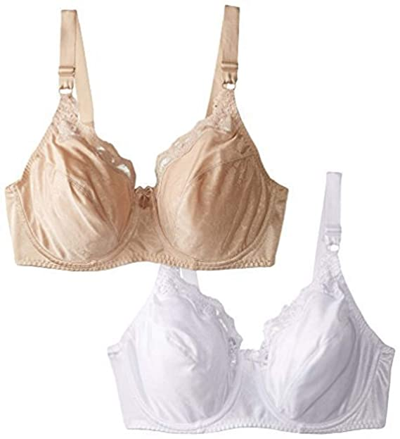 98514310e7d35 Hanes Women s Lace Trim Underwire Bra 2-PackWhite Nude  Amazon.ca ...