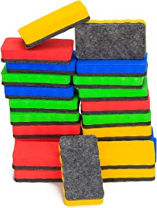 24 Pack Magnetic Dry Erasers - Wellerly Magnetic Eraser Whiteboard Chalkboard Cleaners Dry Erase Wipe for Classroom Home Office School Teacher (Blue+Yellow+Red+Green, 4.2inch x 2.2inch x 0.8inch)