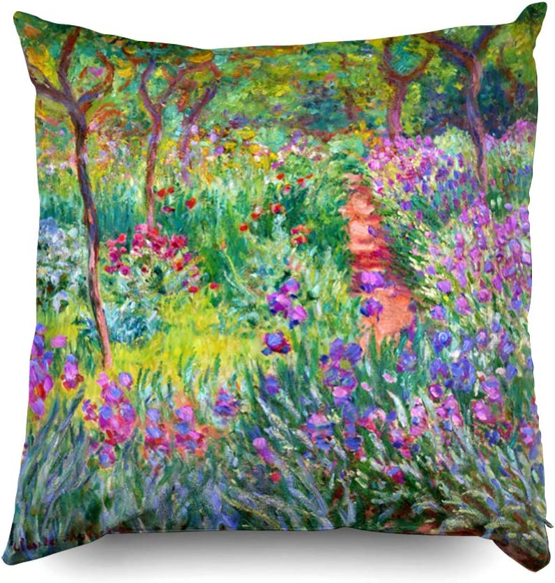Shorping Zippered Pillow Covers Pillowcases 16X16 Inch Claude Monet The iris Garden at Giverny Decorative Throw Pillow Cover,Pillow Cases Cushion Cover for Home Sofa Bedding