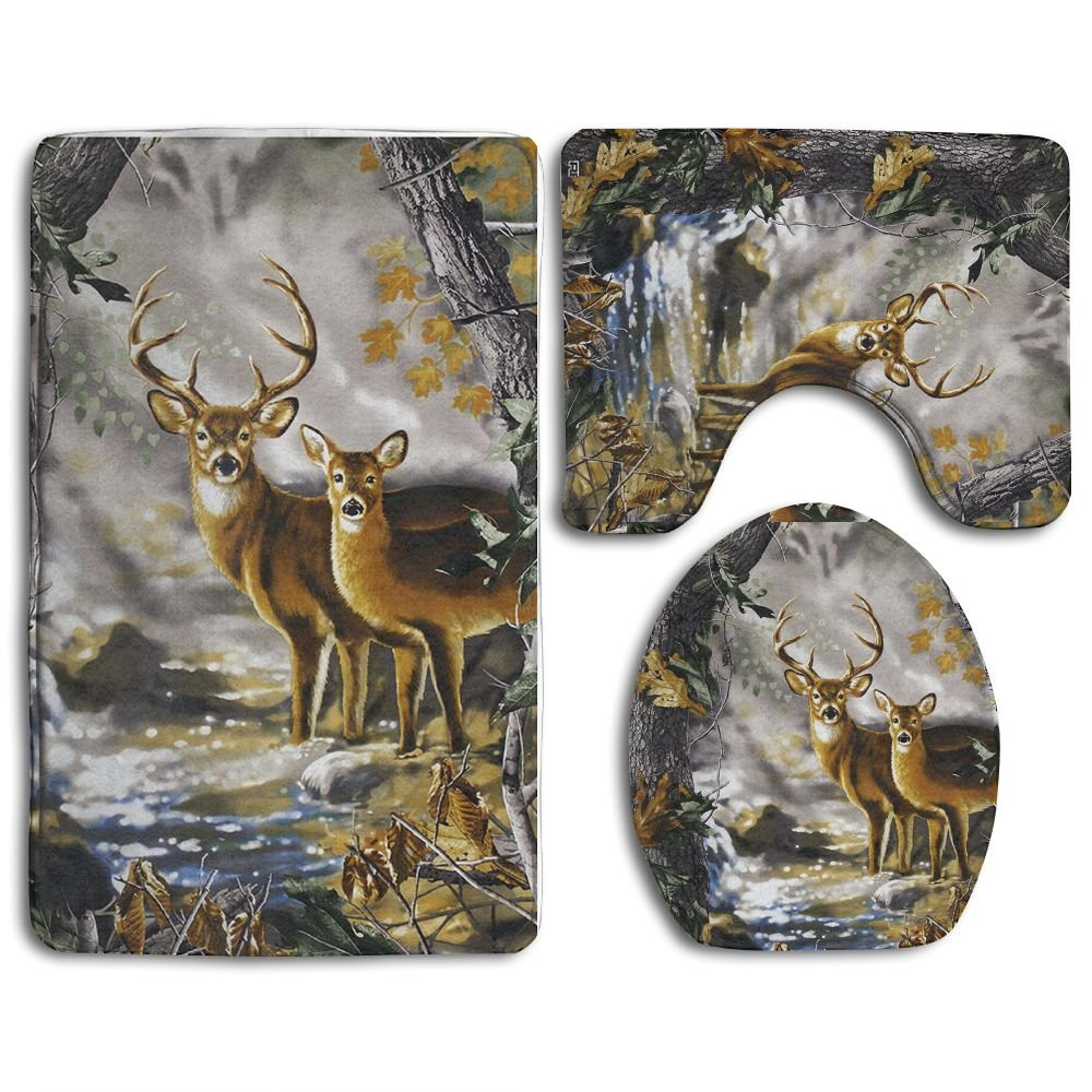 Real Tree Camouflage Deer 3-Piece Soft Bath Rug Set Includes Bathroom Mat Contour Rug Lid Toilet Cover Home Decorative Doormat Man
