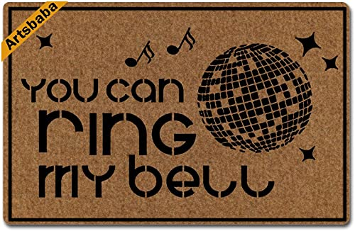 Artsbaba Doormat You Can Ring My Bell Disco Door Mat Monogram Non-Slip Rubber Doormat Non-woven Fabric Floor Mat Indoor Entrance Rug Decor Mat 23.6 x 15.7 Inches