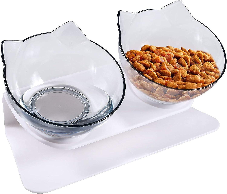 Comedero Gato, Tcuencos Dobles para Gatos, 15 ° Inclinación Tazón de alimentación, Antideslizante Cuencos de Comida para Proteger la Columna Vertebral del Cuello para Gatos Perros (2 transparentes)