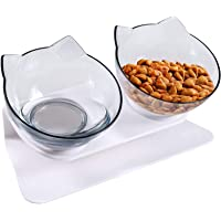 Funmo Kattskålar, dubbel kattskål med upphöjt ställ, 15° lutad plattform halkfri husdjursmatskål, justerbar husdjursskål…