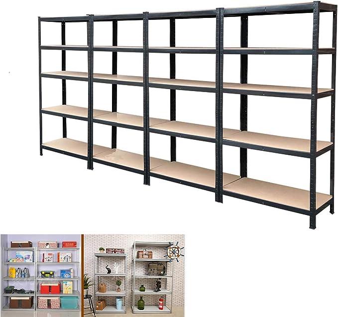 Dicn 4 Pack Shelf Unit 180x90x40cm Each Black Metal Steel Heavy Duty Industrial Style Garage Shed Organiser 5 Tier Adjustable Flexible Amazon Co Uk Kitchen Home