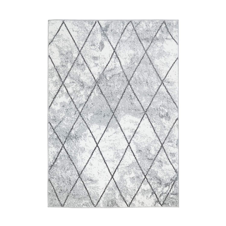 MyShop24h Teppich Flachflor Moda Geometrische Muster Raute Optik in Grau Weiß Wohnzimmer, Größe in cm 140 x 200 cm