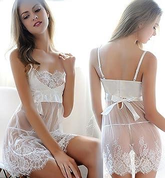 a982bcd36b5 Women Lace Mesh Babydoll Sleepwear Halter Nightwear See-through Sleepwear  Dress Sexy Lingerie Underwear (