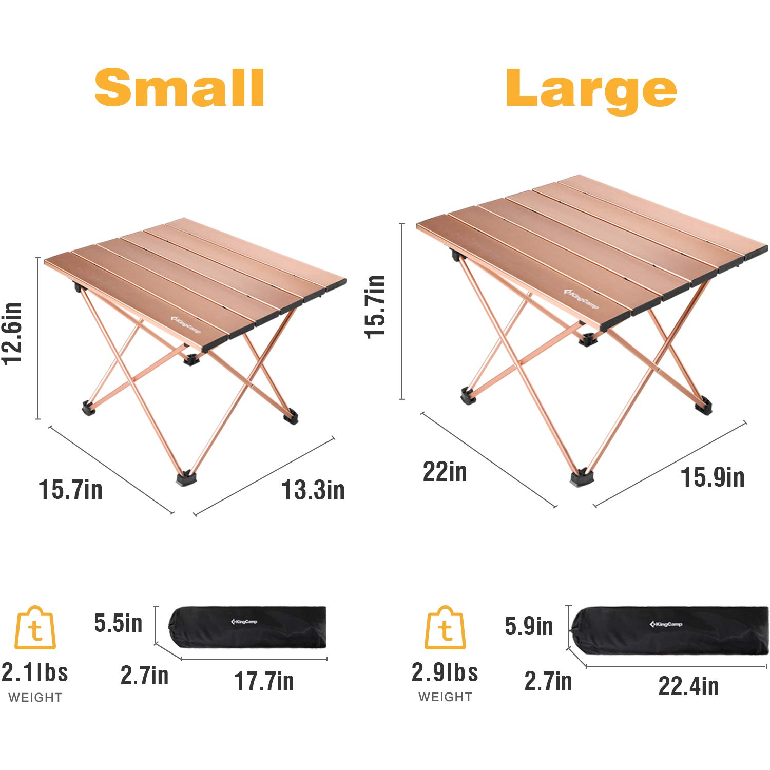 KingCamp Ultralight Compact Folding Table Camping Aluminum Tables with Carry Bag, Two Sizes, Large 22 x 15.7 inch, Small 15.7 x 13.4 inch