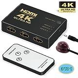 HDMI Switcher 4k,GANA 3 Port HDMI Switch   HDMI Splitter Box   HDMI Verteiler 3D HD 4K/1080p Adapter für Laptops, DVD, HDTV, inkl Fernbedienung (3 x IN / 1 x OUT)