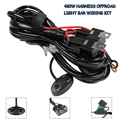 13ft LED Light Bar Wiring Harness 14AWG, YUGUANG 3 Lead Universal Led Wiring Harness with 12V 40A Relay and Two Control Switches for Switching between Different Modes, 2 Years Warranty: Automotive