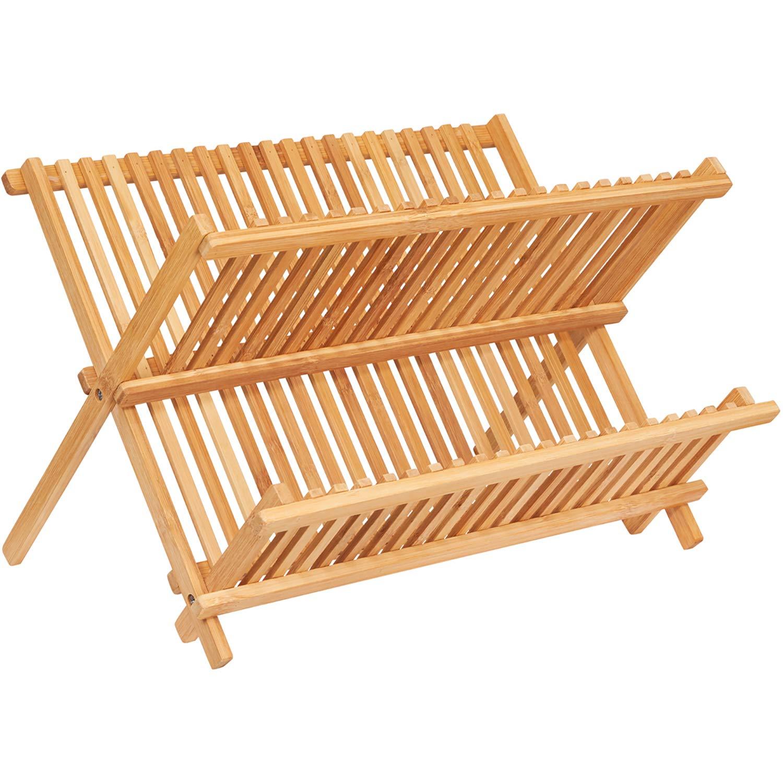 Dish Drying Rack Bamboo Foldable Dish Drainer Holders Kitchen Utensils Storage