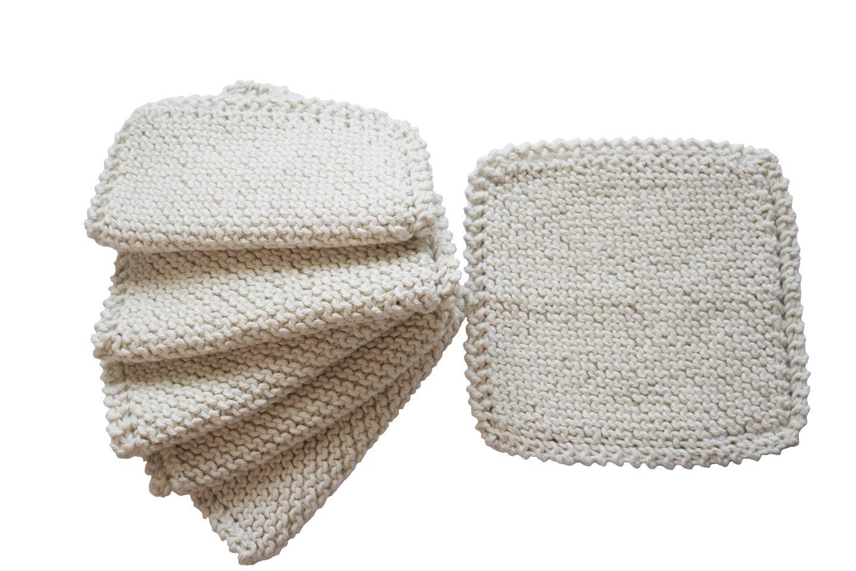 ToockiesHand Knit Organic Cotton Scrub Cloths in Vintage Dish Cloth Pattern- 6 Pack