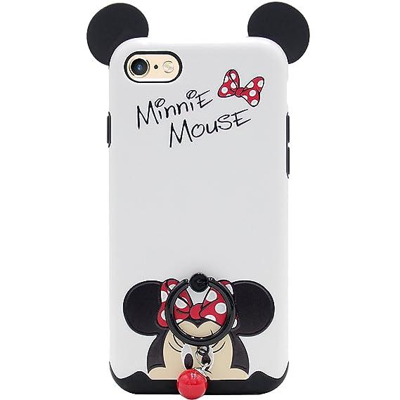 sale retailer 78da9 64de3 iPhone 6 Case, iPhone 6s Case, MC Fashion [Ring Grip & Kickstand Series]  [Dual-Layer] Hard PC Outer + Soft TPU Inner Cute Cartoon Mouse Ears ...