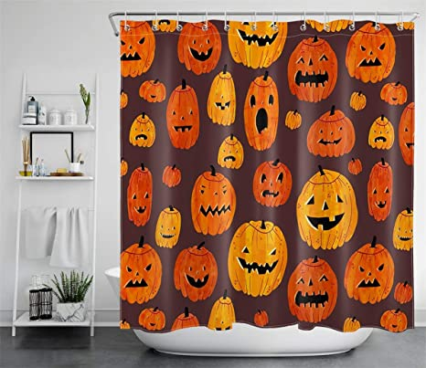 Halloween Theme Pumpkin Shower Curtain Set Waterproof Fabric Bathroom w//12 Hooks