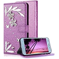 Samsung Galaxy J3 2018 Purple Wallet Case With Screen Protector,Aearl Samsung Galaxy J3 Prime 2018 Bling Crystal Diamond…
