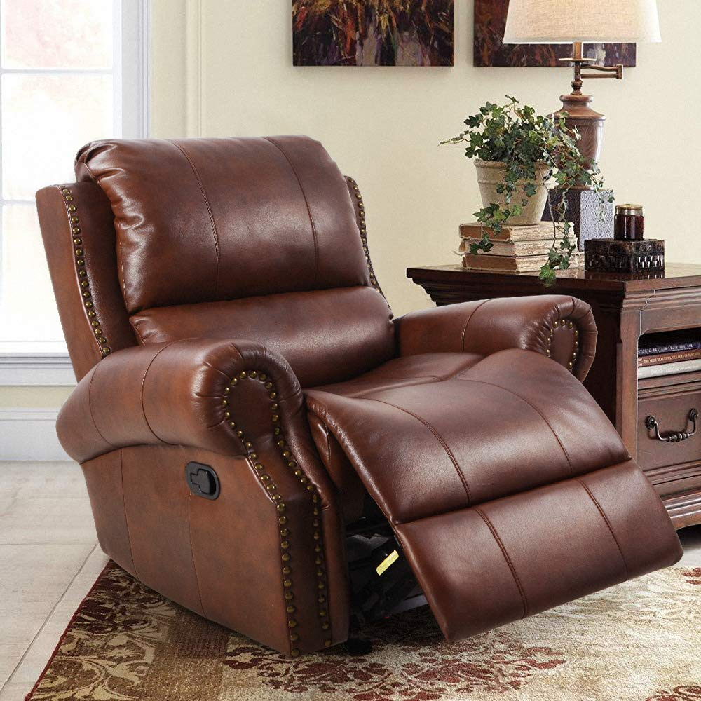 LCH Single Recliner Sofa Chair – Support Back Waist Design Oversized Reclining Couch Seat Body Relaxing