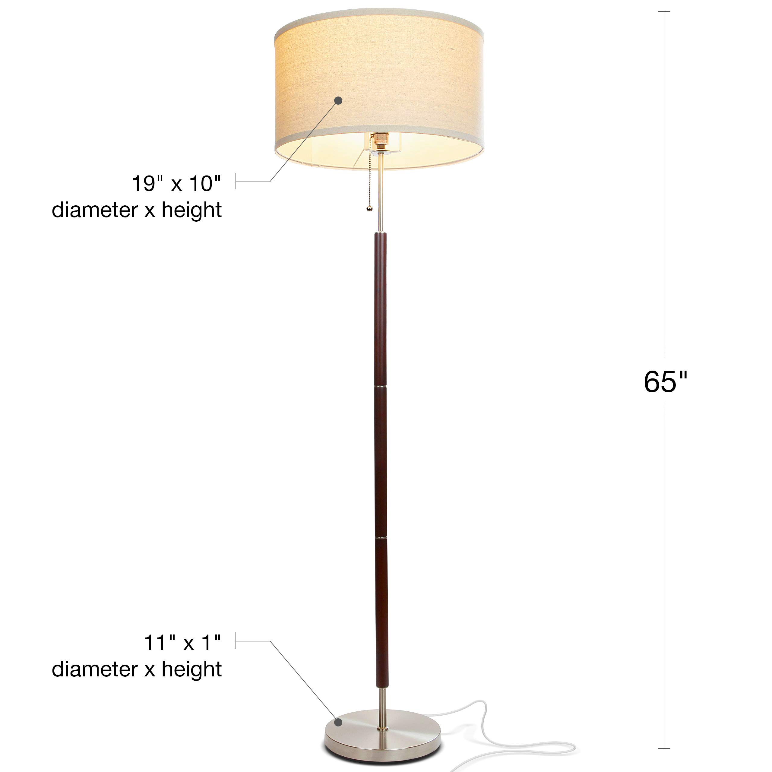 Brightech Carter LED Mid Century Modern Floor Lamp - Contemporary Living Room Standing Light - Tall Pole, Drum Shade Lamp with Walnut Wood Finish by Brightech (Image #2)
