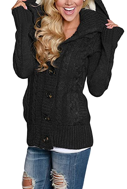 8365740996 Brighty-U Novel and attractive Women s Hooded Cable Knit Button Down  Cardigan Sweaters Fleece Jackets