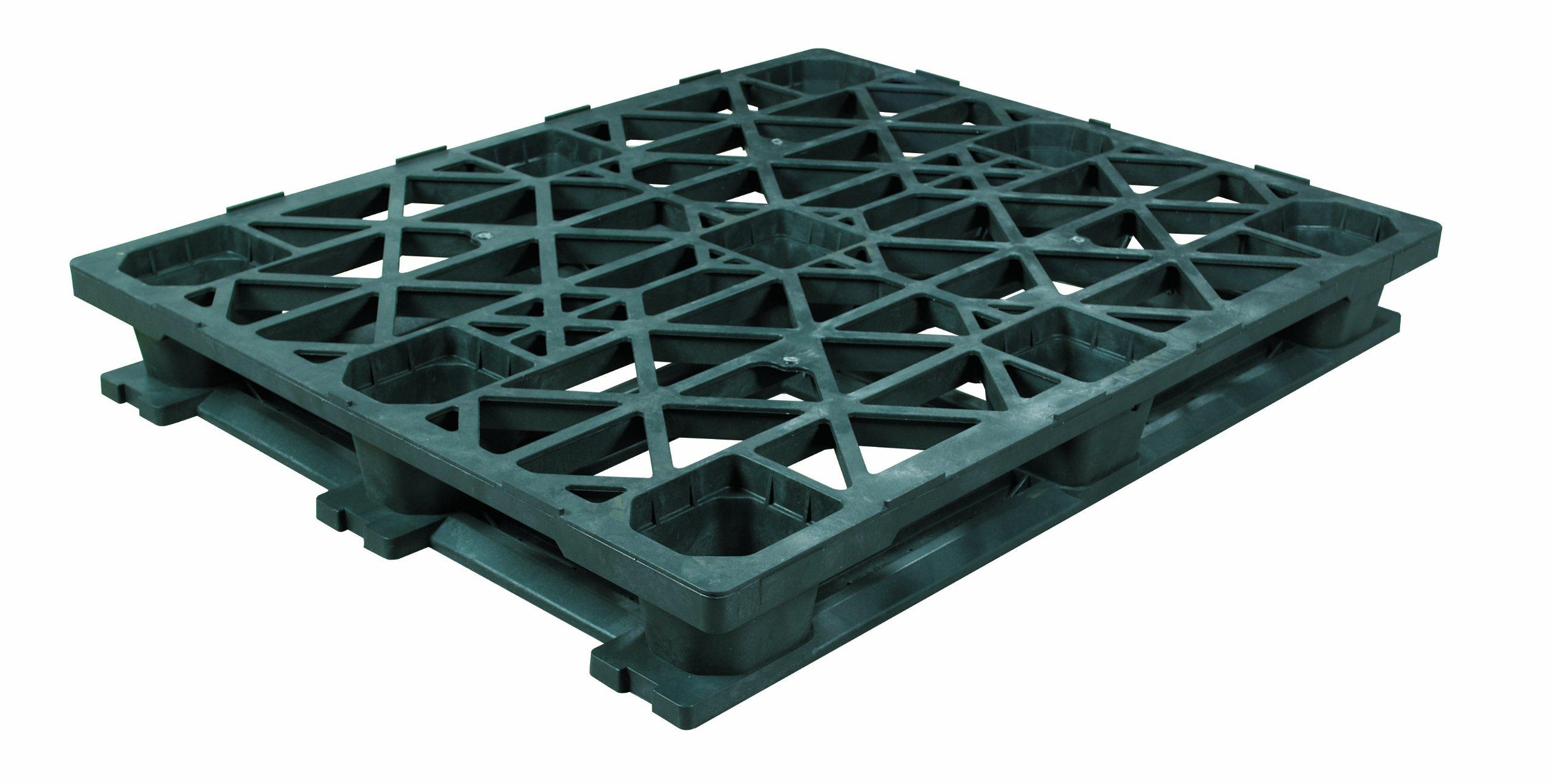 Aviditi CPP336 Heavy-Duty Plastic Pallet, 48'' x 40'' x 5 9/10'', Black