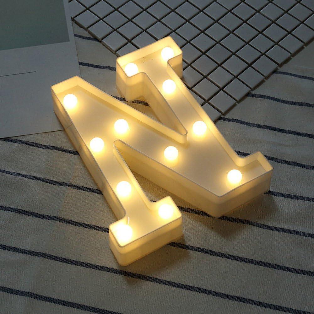 bodas para colgar en el hogar Luces LED de letras del alfabeto con luces LED para letras de pl/ástico NBRR Letras LED del alfabeto fiestas bares etc.