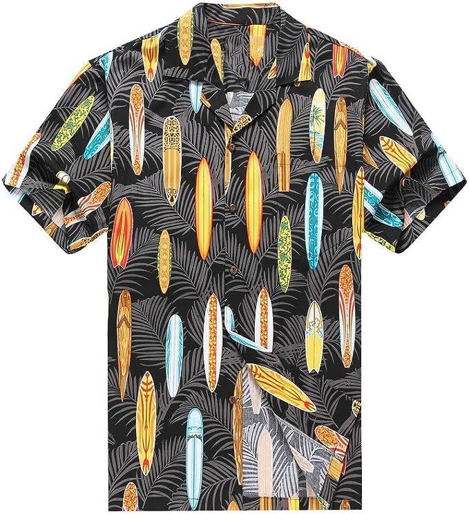 Hecho en Hawaii Camisa Hawaiana de los Hombres Camisa Hawaiana Tablas de Surf de Palmas en Colores variadoss: Amazon.es: Ropa y accesorios