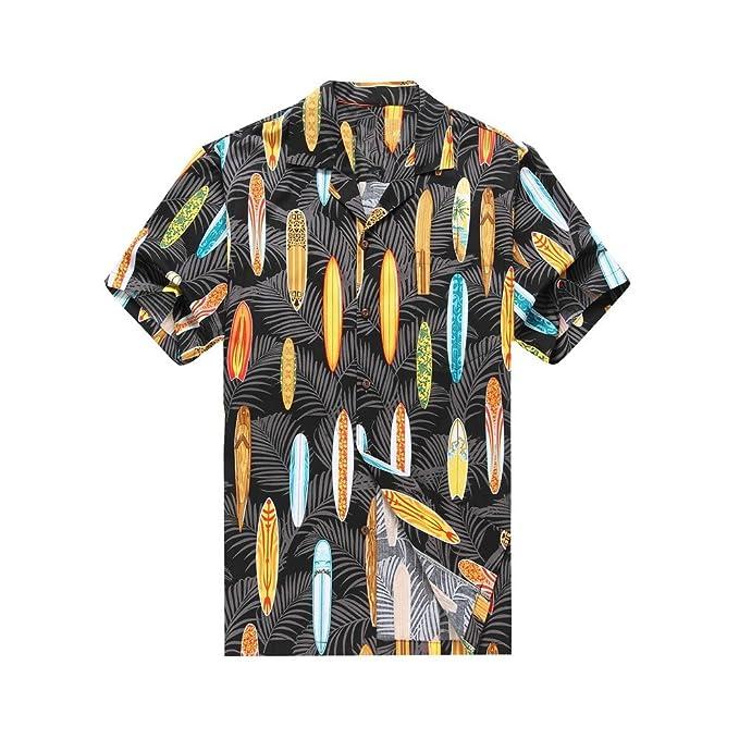 Hecho en Hawaii Camisa hawaiana de los hombres Camisa hawaiana S Tablas de surf de Palmas