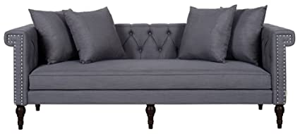 Jennifer Taylor Home Jasmine Collection Modern Nailhead Trim And Button  Tufted Chesterfield 3 Seat Sofa,