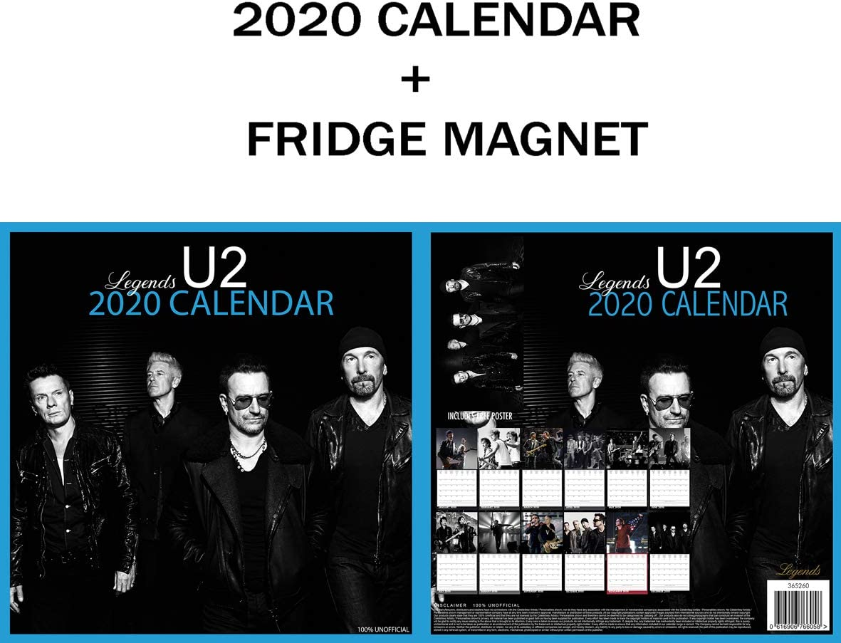 U2 SQUARE WALL CALENDRIER 2020 METAL MACHINE AIMANT DE R/ÉFRIG/ÉRATEUR