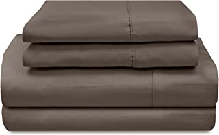 product image for Veratex The Supreme Sateen Collection Luxury 500 Thread Count Solid Designed Bedroom Pillowcase Pair, Standard Size, Espresso