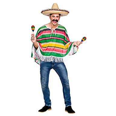 adults mexican bandit poncho fancy dress up party halloween costume