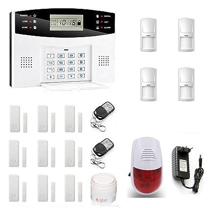SZABTO DIY Kit de Inicio de alarma inteligente inalámbrica GSM de marcado automático de alarma de seguridad a un volumen alto de alarma de sirena al ...