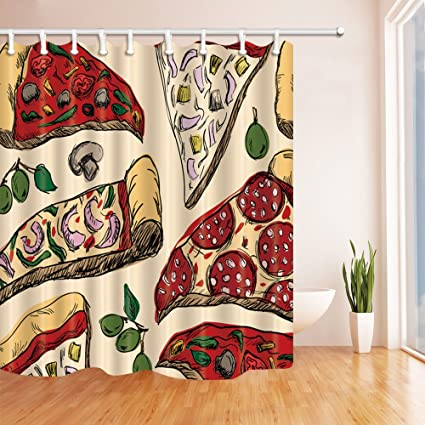 NYMB Food Decor Pizza Shower Curtain Mildew Resistant Polyester Fabric Bathroom Bath Curtains With