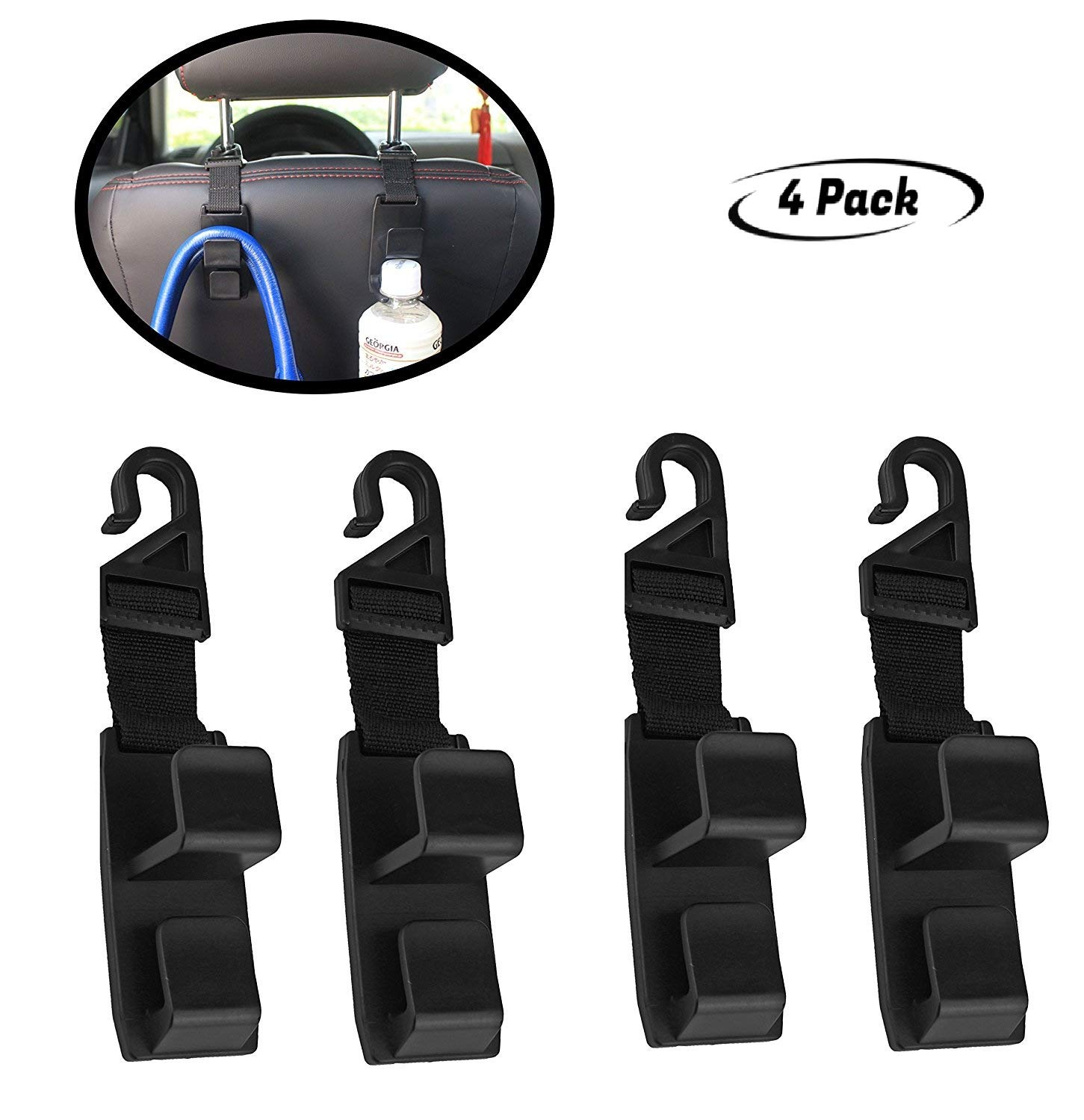 4 Pack Car Seat Headrest Hooks By Lebogner - Strong And Durable Backseat Headrest Hanger Storage For Handbags, Purses, Coats, and Grocery Bags, Universal Vehicle Car Seat Back Headrest Bottle Holder LOR-A-1024