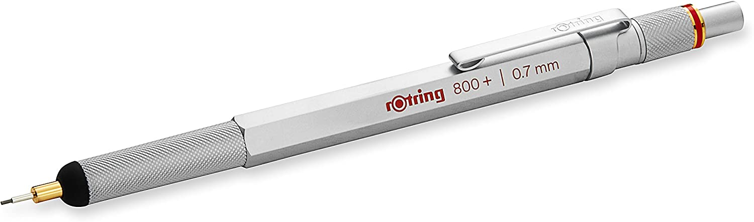 rOtring 1900184 800+ Mechanical Pencil and Touchscreen Stylus, 0.7 mm, Silver Barrel