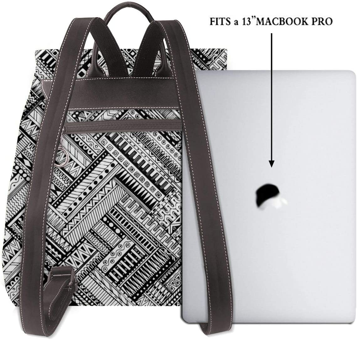 Women PU Leather Fashion Backpack Purse Black And White Abstract Pattern Travel School Shoulder Bag Girls Ladies Daypack Handbags
