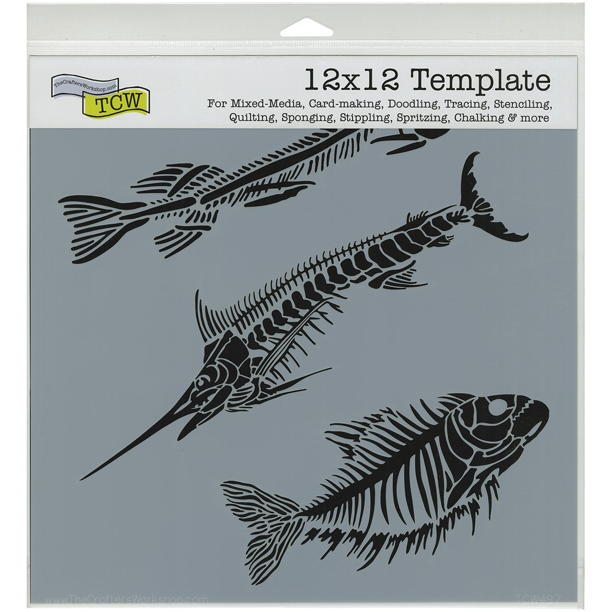 Crafters Workshop TCW-497 Fish Fossils Template, 12-Inch by 12-Inch