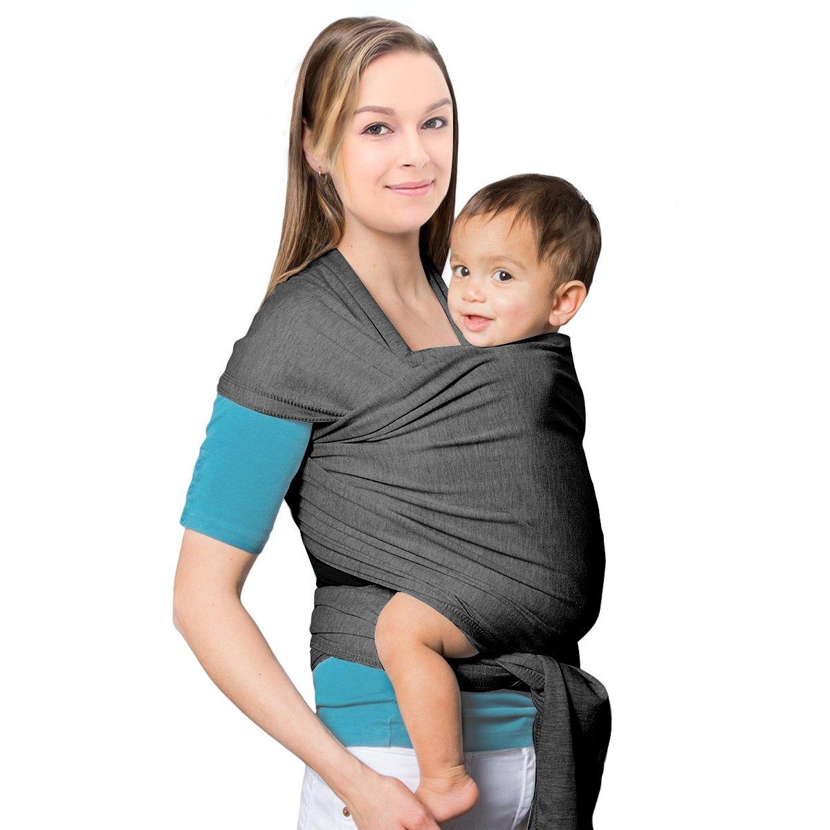 MTURE Babytragetuch, Babytrage für Männer und Frauen,Tragetuch Tragehilfe Sling Baby (Grau) 620BJ01gr