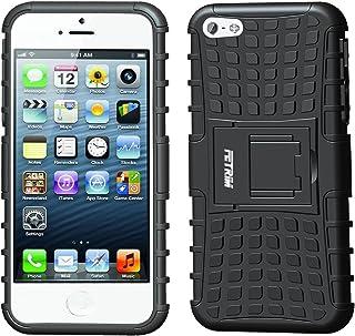Fetrim Custodia iPhone 5S, cover supporto anti Case, TPU Plastica Bumper Rugged armatura ultra protezione Copertura Cassa Shell Caso per iPhone 5/5S/Se - blu